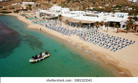 Aerial drone photo of famous clear water beach of Paradise in iconic island of Mykonos, Cyclades, Greece