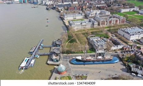 Aerial drone photo of famous Cutty Sark the only tea clipper survived and used as a museum next to Greenwich pier in the heart of London, United Kingdom