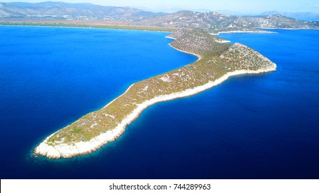 Aerial drone photo from famous Kinosoura peninsula, natural Park and wetland of Schinias with rare Pine trees and turquoise clear waters, Marathon, Attica, Greece
