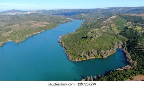 Aerial drone photo of famous lake and dam of Marathon or Marathonas, North Attica, Greece