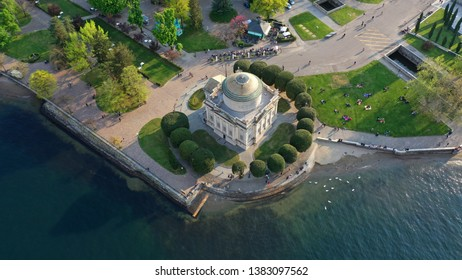 Aerial drone photo of famous landmark Temple of Tempio Voltiano in lake Como one of the deepest in Europe, Lombardy, Italy