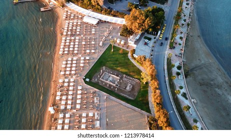 Aerial drone photo of famous luxury beach of Asteras or Astir in the heart of Vouliagmeni Peninsula, Athens riviera, Attica, Greece