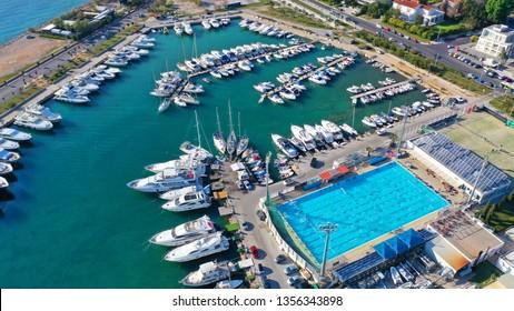 Aerial drone photo of famous Marina of Glyfada suburb, South Attica, Athens riviera, Greece