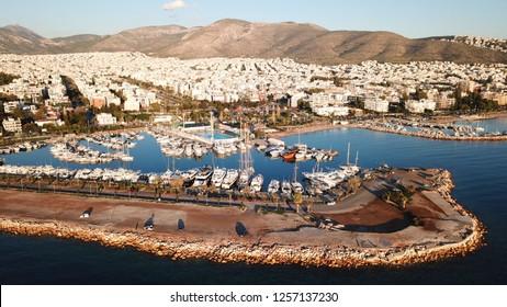 Aerial drone photo of famous port of Glyfada area, Attica, Athens riviera, Greece