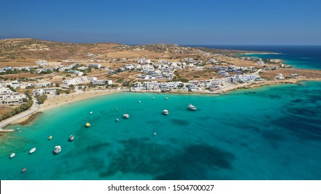 Aerial drone photo of famous sandy turquoise beach of Ammos near main port of Koufonisi island, Small Cyclades, Greece