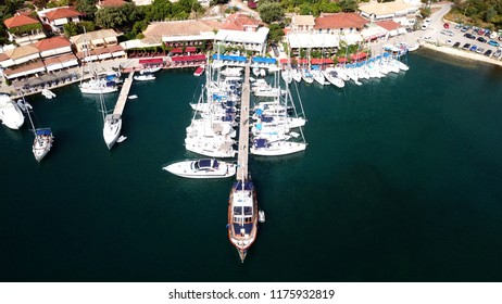 Aerial drone photo of famous seaside village and bay of Sivota Lefkadas famous for trips to nearby beaches and dafe harbouring to sail boats, Lefkada, Greece