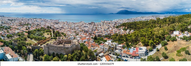 Aerial drone photo of famous town and castle of Patras, Achaia, Peloponnese, Greece. Panorama