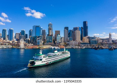 Aerial drone photo of a ferry arriving in Seattle Washington