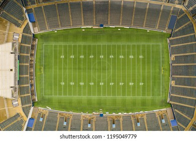 Aerial drone photo of a football stadium open roof with no logos