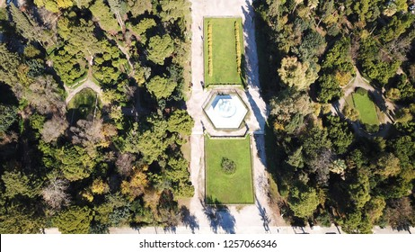 Aerial drone photo of gardens of neoclassical public masterpiece, Zapeion building in National Gardens, Athens, Attica, Greece