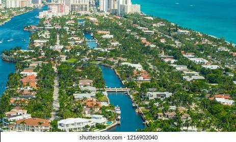 Aerial drone photo Golden Beach Florida an upscale neighborhood