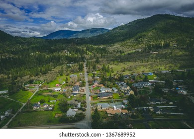 Aerial drone photo of Grants Pass, Southern Oregon, USA, and highway 5 traffic