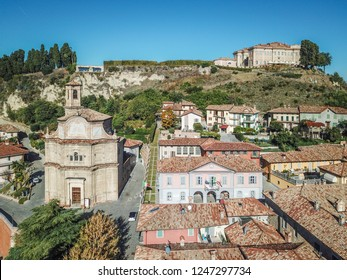 Aerial drone photo of Guarene castle and city in Northern Italy, langhe and roero region