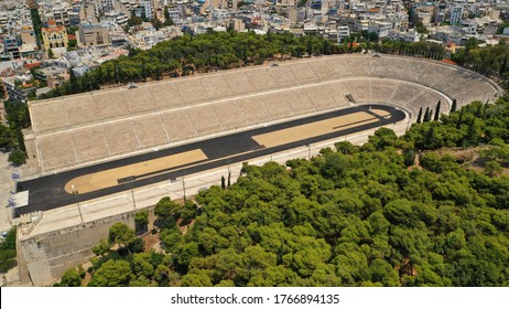 Aerial drone photo of iconic ancient Panathenaic stadium or Kalimarmaro birthplace of the original Olympic games, Athens historic centre, Attica, Greece