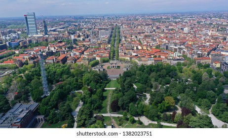 Aerial drone photo of iconic Arch of Peace or Arco della Pace in beautiful Sempione park in the heart of Milan, Lombardy, Italy