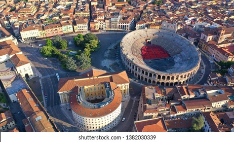 Aerial drone photo from iconic Arena and City Hall in Bra square of beautiful city of Verona, Lombardy, Italy