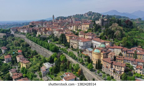 Aerial drone photo of iconic and beautiful old fortified upper Medieval city of Bergamo, Lombardy, Italy