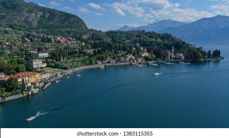 Aerial drone photo of iconic and beautiful Lake Como one of the deepest in Europe, Lombardy, Italy