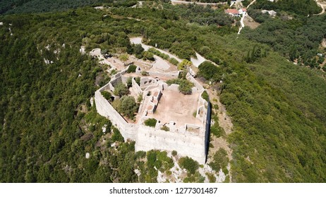 Aerial drone photo of iconic castle of Ali Pasha overlooking bay and village of Parga, Epirus, Ionian, Greece