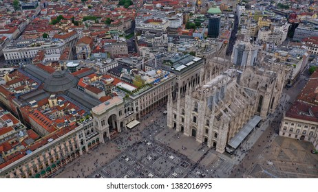 Aerial drone photo of iconic Cathedral and square of Duomo one of the biggest in the world, Milan, Lombardy, Italy