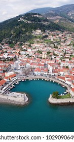 Aerial drone photo of iconic fortified medieval port in historic city of Nafpaktos, Aitoloakarnania, Greece