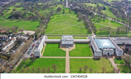 Aerial drone photo of iconic Greenwich observatory in the heart of London, Greenwich park, United Kingdom