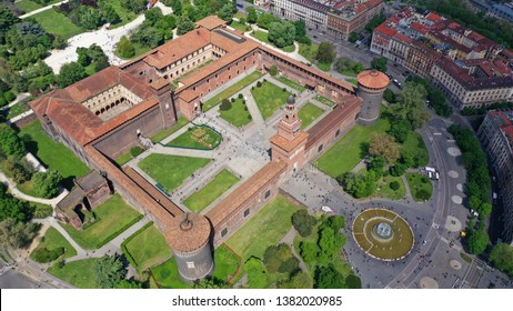 Aerial drone photo of iconic medieval Castle of Sforza or Castello Sforzesco and beautiful Sempione park in the heart of Milan, Lombardy, Italy