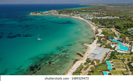 Aerial drone photo from iconic resort and village of Sani with unique nature in North Kassandra peninsula, Halkidiki, North Greece