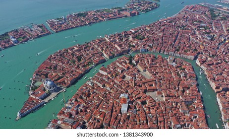 Aerial drone photo of iconic and unique Grand Canal crossing city of Venice as seen from high altitude, Italy