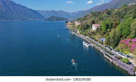 Aerial drone photo of iconic Villa Carlotta with famous botanical garden in lake Como one of the most beautiful and deepest in Europe, Lombardy, Italy