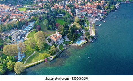 Aerial drone photo of iconic village of Cernobbio in lake Como one of the most beautiful and deepest in Europe, Lombardy, Italy