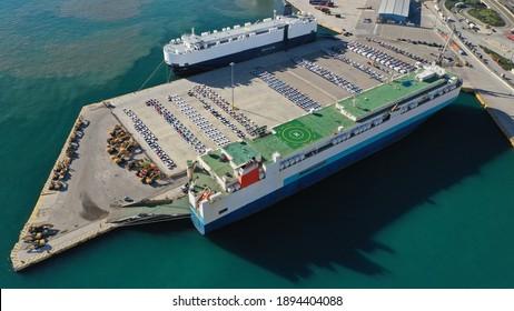 Aerial drone photo of industrial Ro Ro car transport terminal in Mediterranean destination port