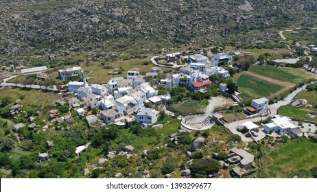 Aerial drone photo of Lunar landscape with big round granite stones a unique geological phenomenon in Volax village, Tinos island, Cyclades, Greece