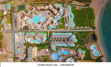 Aerial drone photo of luxury resort village of Kolympia in famous island of Rodos or Rhodes, Dodecanese islands, Greece