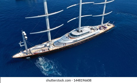 Aerial drone photo of massive and iconic Super Yacht Maltese Falcon sail boat cruising in the deep blue Aegean sea, Greece