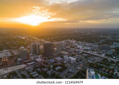 Aerial drone photo of midtown Miami at sunset dusk