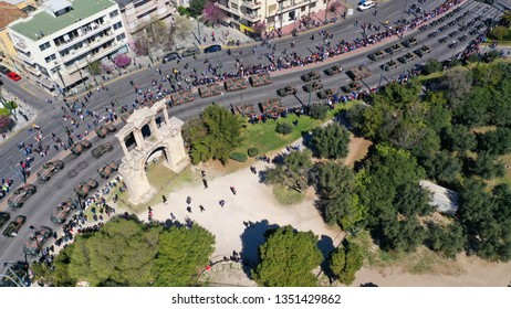Aerial drone photo of military tanks stoped in Hadrian Arch during anual parade of Greek independence day on March 25, Athens, Attica, Greece