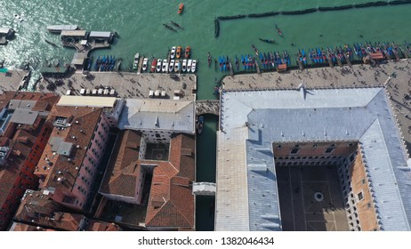 Aerial drone photo of the most popular bridge in Venice, the bridge of Sighs or Ponte dei Sospiri next to Doge's Palace, Italy