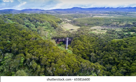 Aerial drone photo of mountain waterfall in Aberdares National Park, Kenya