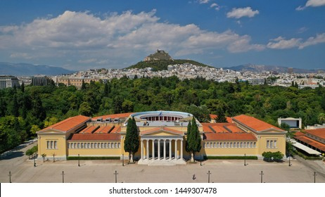 Aerial drone photo of neoclassical public masterpiece, Zapeion building in National Gardens, Athens, Attica, Greece