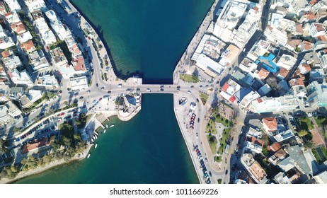 Aerial drone photo of old bridge in famous city of Halkida that links the island of Evia to mainland Greece