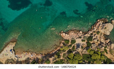 Aerial drone photo of part of peninsula in Vouliagemeni area, Athens riviera, Glyfada, Attica, Greece