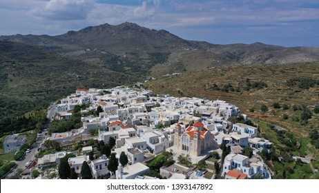 Aerial drone photo of picturesque beautiful village of Pirgos or Panormos famous from traditional marble artists, Tinos island, Cyclades, Greece