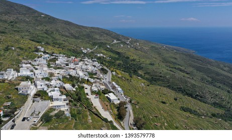 Aerial drone photo of picturesque beautiful village of Isternia with traditional Cycladic architecture famous for marble artists, Tinos island, Cyclades, Greece