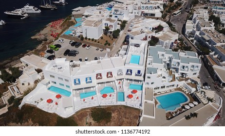 Aerial drone photo from picturesque cycladic village located in island of Mykonos, Cyclades, Greece