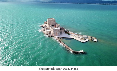 Aerial drone photo from picturesque and famous venetian fortress and small islet of Bourtzi with views to iconic city of Nafplio former capital of Greece, Argolida, Peloponnese