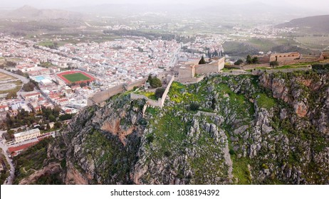 Aerial drone photo from picturesque and famous fortress of Palamidi with views to iconic city of Nafplio former capital of Greece, Argolida, Peloponnese