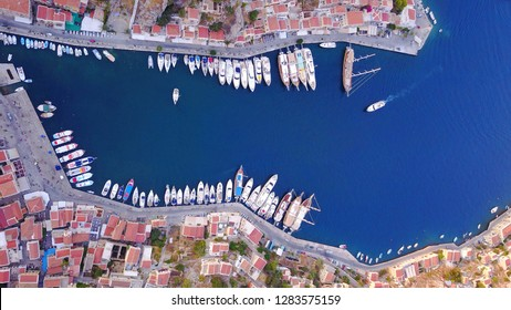 Aerial drone photo from picturesque and iconic UNESCO world heritage site island of Symi, Dodecanese, Greece