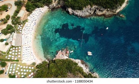 Aerial drone photo of popular beach of Megali Amos near iconic area of Sivota, Epirus, Ionian, Greece