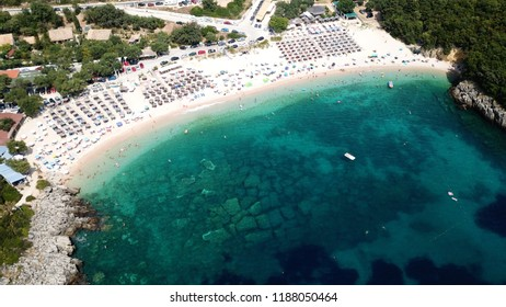 Aerial drone photo of popular beach of Megali Amos near iconic area of Sivota, Epirus, Ionian, Greece